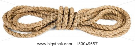Ship rope isolated on white background, closeup
