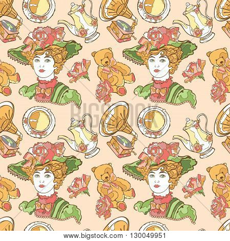 Vintage pattern. Young Lady in her hat, teddy bear, gramophone, tea set and flowers. Vector seamless pattern (background).