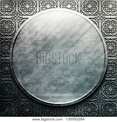 Silver metal round plate with classic ornament. metal collection. Texture with metal carved pattern. Luxury metal design