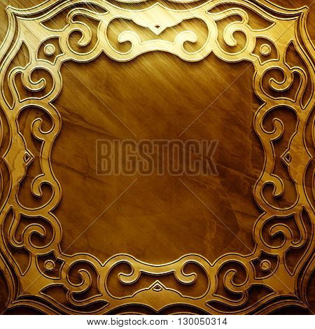 Gold metal plate with classic ornament. metal collection.  texture with metal carved pattern. Luxury metal design