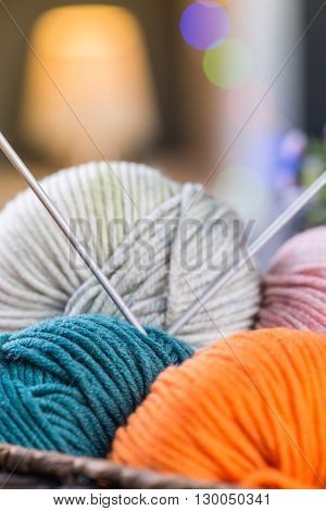 Balls Of Knitting Yarns In The Basket