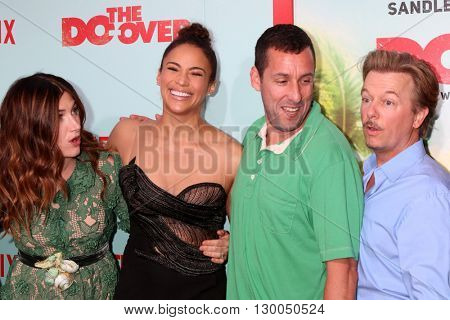 LOS ANGELES - MAY 16:  Kathryn Hahn, Paula Patton, Adam Sandler, David Spade at the The Do-Over Premiere Screening at the Regal 14 Theaters on May 16, 2016 in Los Angeles, CA