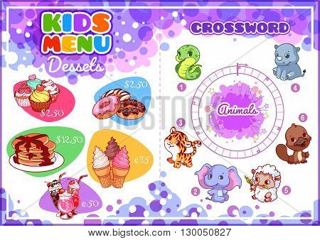 Kids Menu for desserts with round crossword. Different sweets. Template menu A4 size horizontal orientation.