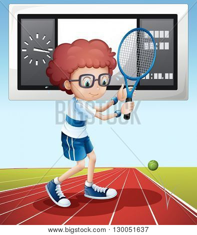 Tennis player in the field illustration