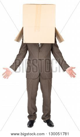 Anonymous businessman with box on head and arms out