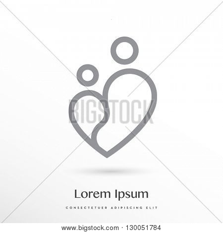 MODERN VECTOR LOGO / ICON DESIGN OF A MINIMAL LINE - DRAWN SYMBOL OF A  PARENT WITH A CHILD COMBINED WITH THE SHAPE OF THE HEART . COLOR : GREY ON WHITE BACKGROUND