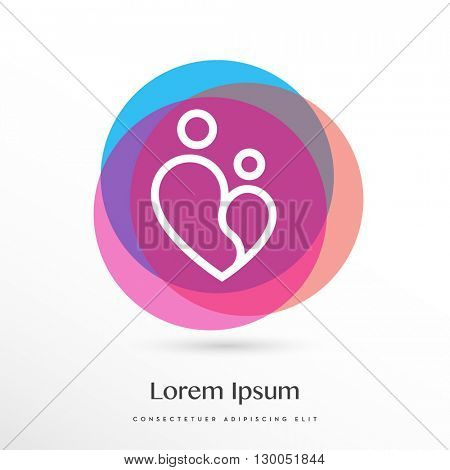 BEAUTIFUL VECTOR LOGO / ICON DESIGN OF AN ABSTRACT SHAPE SYMBOLIZING A PARENT HOLDING A KID COMBINED WITH THE SHAPE OF THE HEART