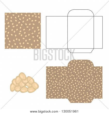 Pumpkin seeds packaging design kit. Recycled paper pack template. Pile of pumpkin seeds and pattern for wrap.