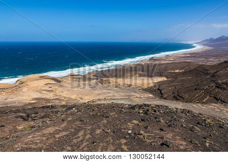 View Of Cofete Beach From Agua Oveja Viewpoint - Jandia Fuerteventura Canary Islands Spain