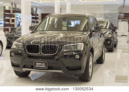 BANGKOK THAILAND - NOVEMBER 19 2013 : BMW X3 xDrive 20d car on display at the Siam Paragon Mall in Bangkok Thailand. Siam Paragon is a one of the biggest shopping centres in Asia