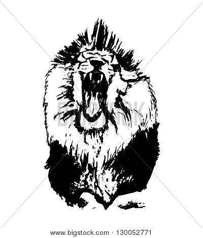 Graphic image of a lion on a white background. Abstract illustration of a lion with an open mouth. Aggressive wild cat vector illustration