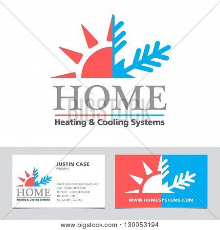 Heating & Cooling systems business icon & business card vector template. Brand visualization template. Vector illustration symbolizing home cooling & heating climate control system. Typography proposal. Sample text. Editable