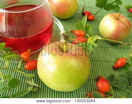 Fruit tea with rose hips and apples