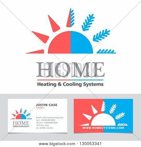 Heating & Cooling systems business icon & business card vector template. Brand visualization template. Vector illustration symbolizing home cooling & heating climate control system. Typography proposal. Editable