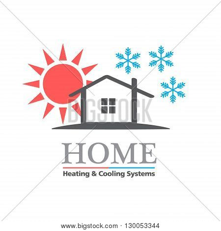 Heating & Cooling systems business icon vector template. Brand visualization template. Vector illustration symbolizing home cooling & heating climate control system. Typography proposal. Editable