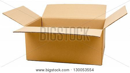 Opened brown carton shipping box. Isolated on white background