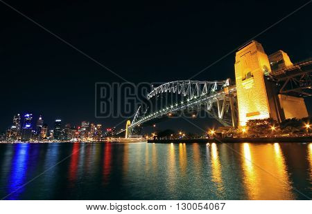 Long exposure of Sydney Harbour Bridge taken at night with beautiful red and blue lights from the city landscape