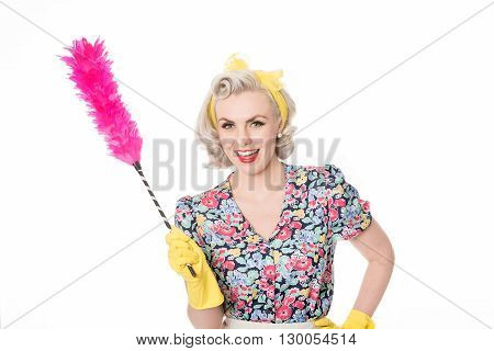 Happy Retro Housewife, With Feather Duster, Isolated On White