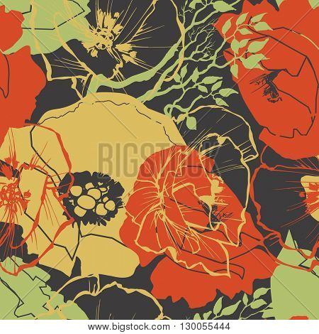 Flower pattern, vector floral print