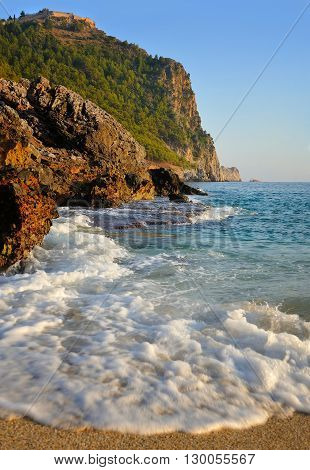 Sea beach in Alanya Turkey. Summer day