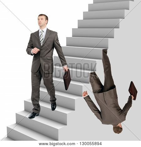 Businessman falling out of stairs with wallking man on white background