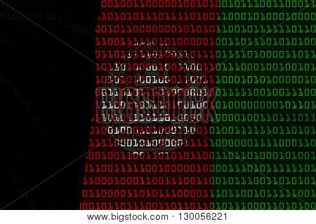 Afghan Technology Concept - Flag Of Afghanistan In Binary Code - 3D Illustration