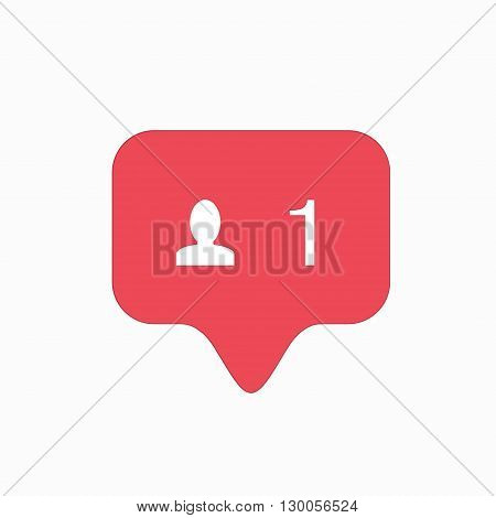 vector modern follow pink icon isolated on white background.