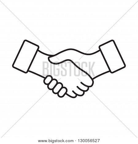 Business handshake, agreement handshake line art icon for apps and websites