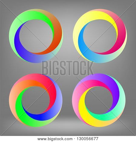 Set of Colorful Circle Icons Isolated on Grey Background