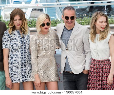 Lars Eidinger, Sigrid Bouaziz, Kristen Stewart, Olivier Assayas, Nora von Waldstatten  at the photocall for 'Personal Shopper' at the 69th Festival de Cannes.