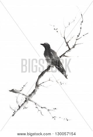 Lonely bird Japanese style original sumi-e ink painting. Great for greeting cards or texture design.