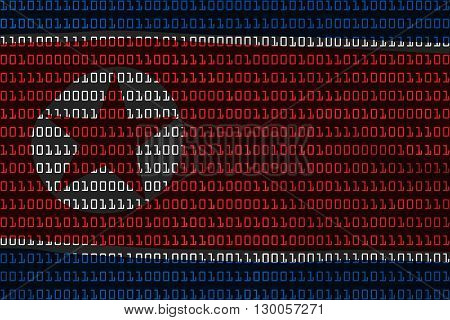 North Korean Technology Concept - Flag Of North Korea In Binary Code - 3D Illustration