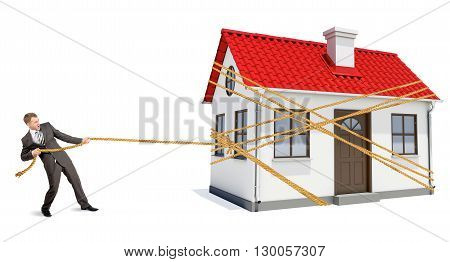 Man pulling rope to move wooden house isolated on white background