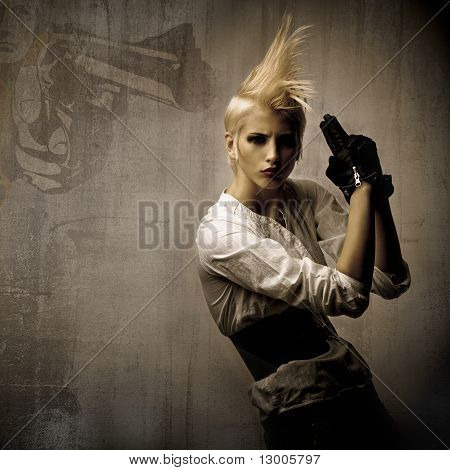 Beautiful Blond Girl With Gun