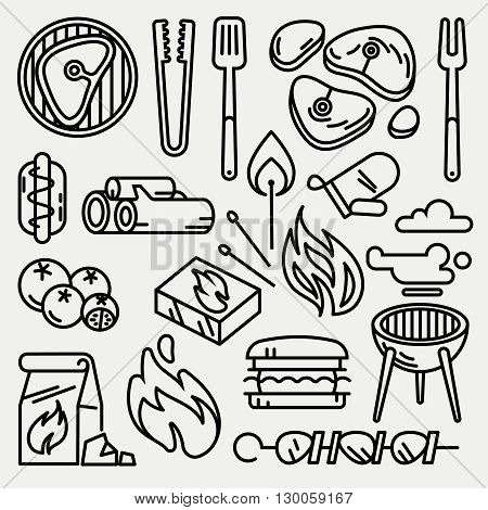 Barbecue and grill thin line vector icons. Picnic bbq icon and cooking bbq linear style illustration