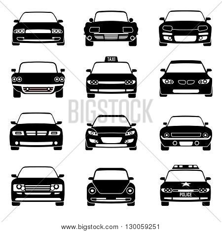Cars in front view black vector icons. Automobile black and car taxi transport. Police car vehicle illustration
