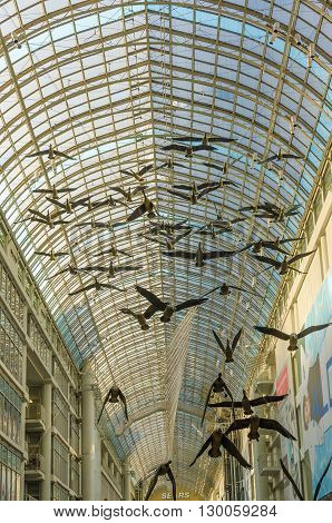 The Flying Birds Sculpture At The Toronto Eaton Center