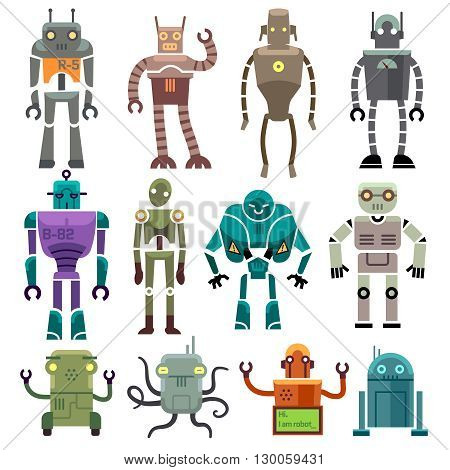 Cute vintage vector robot icons and characters. Toy set robot and technology machine artificial robot illustration