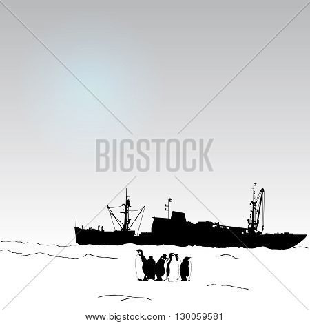 Vector antarctica background with  penguin and science ship and snow