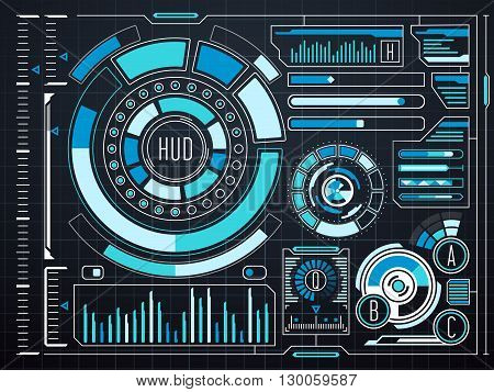 Sci-fi futuristic virtual graphic touch user interface HUD. Future interface digital hud and dashboard screen virtual hud. Vector illustration