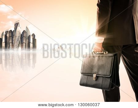 Businessman with suitcase against modern city, rear view