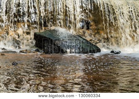 beautiful water waterfall with rock outdoors in forest