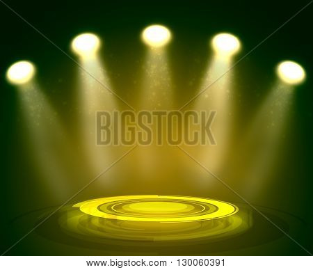 Abstract light yellow background with technology podium and spotlights
