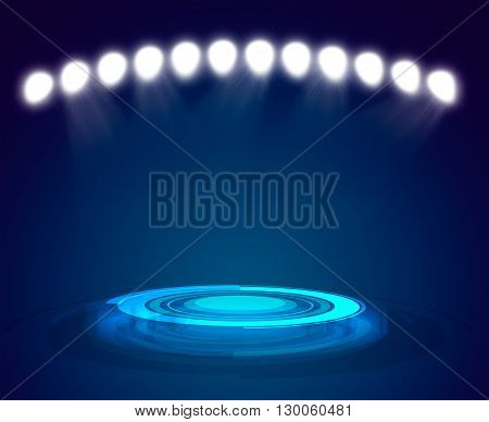 Rays of blue light on dark background and copy space for your text or object. Exhibition template
