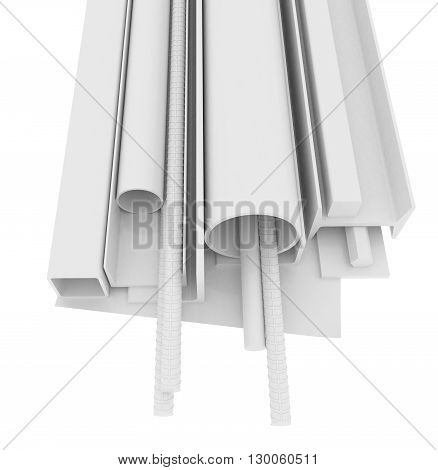 White stainless steel products isolated on white background. 3D rendering