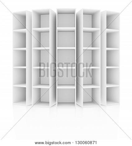 Empty white bookshelf.  Isolated on white. 3D rendering