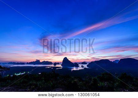 Sunrise at Samed Nangshe in Phang Nga province at Thailand