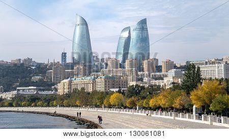 Baku, Azerbaijan - October 18, 2014: Flame towers in Baku cityscape