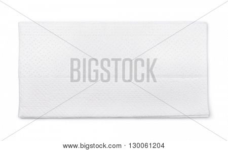 Top view of single tissue paper isolated on white