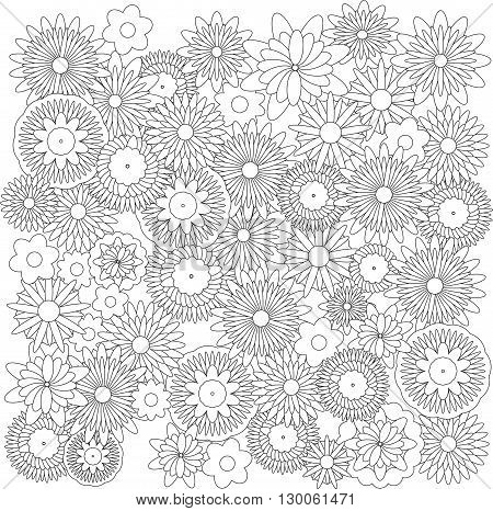 Flowers shape background  catcher for coloring book